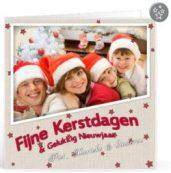 Kerstkaart gezinsviering voor op een kaartje