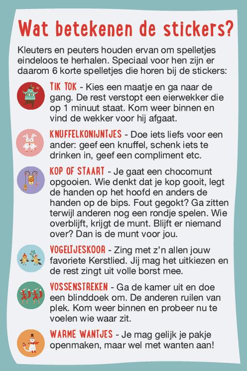 Kerstspel - wat betekenen de stickers