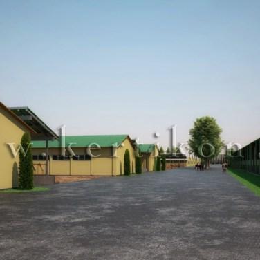 3D látványrajz, kertépítészeti koncepcióterv - istálló épület, előkert terve, számítógépes modell, Mezőhegyes