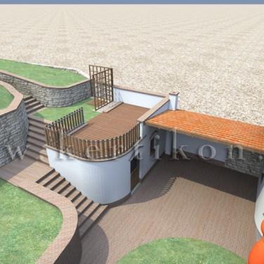 3D látványterv - családi ház kert, kerti tároló és terepépítmények