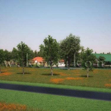 3D látványterv, környezetalakítás - telephely út felőli nézet, Mezőhegyes