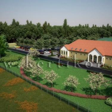 Fotórealisztikus látványterv, tájépítészeti koncepcióterv: irodaépület, parkoló és környezete, zöldterületek kialakítása, Mezőhegyes