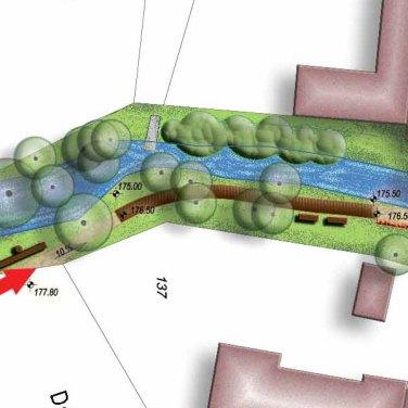 Környezetrendezés és közlekedési kapcsolat, patak parki tansétány kertépítészeti tanulmányterv