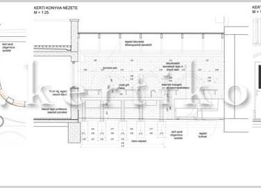 Kerti konyha terve - családi ház kert tervezés lejtős terepen