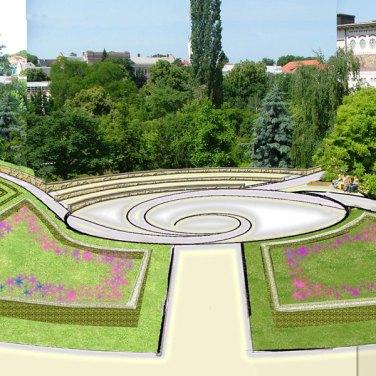 Tér rendezés, kertépítészeti terv; a tér kerti látványterve