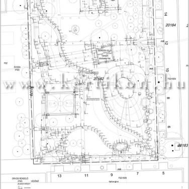 Villa, kerti építmények, kitűzési terv