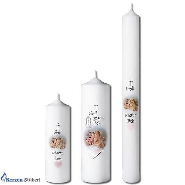 Taufkerzen fr Mdchen und Jungen mit Engel  KerzenStberl