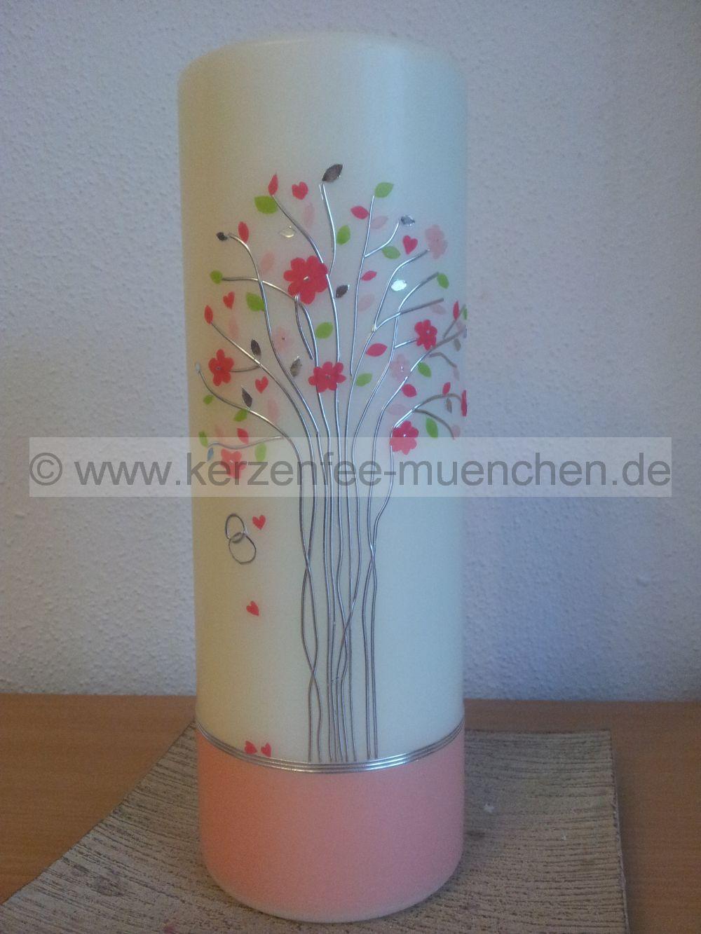 Kerzenfee Mnchen  Hochzeitskerze Blumenbaum pink