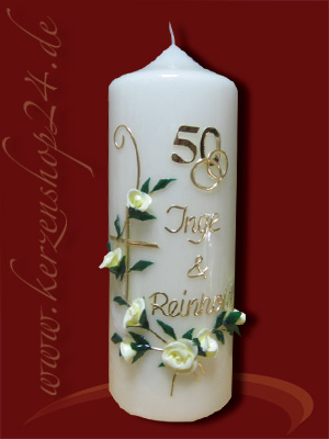 Kerzenshop24de  Goldene Hochzeitskerze E1232  online