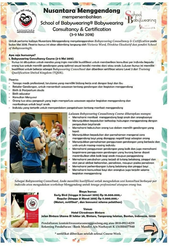 Indonesia Babywearing Consultancy Course – Tangsel – 3 Mei 2018