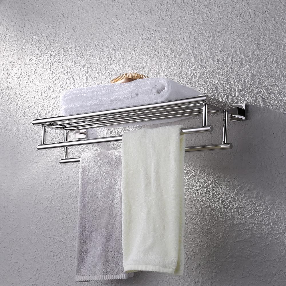 KES Stainless Steel Bath Towel Rack Bathroom Shelf with