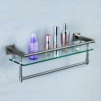 Bathroom Glass Shelves With Towel Bar - Home Design