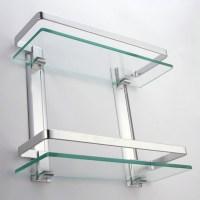 KES Bathroom 2-Tier Glass Shelf with Rail Aluminum and ...
