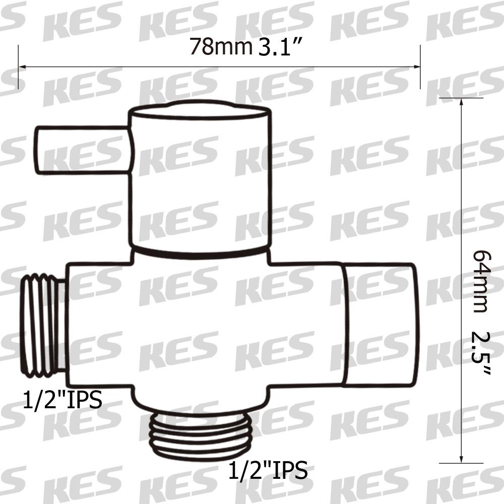 KES Bathroom Modern BRASS Shower Arm Diverter Quarter Turn