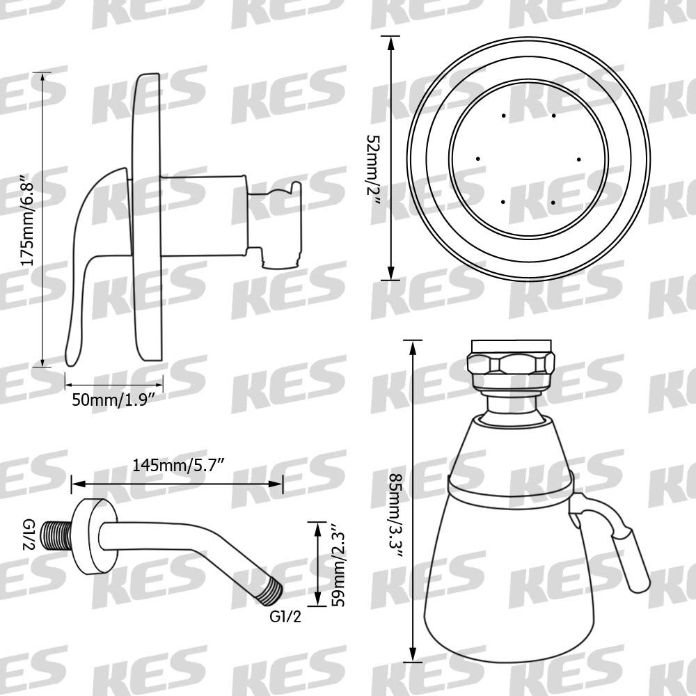 hight resolution of kes pressue balance shower faucet set anti scald single handle brass rough in concealed valve stainless