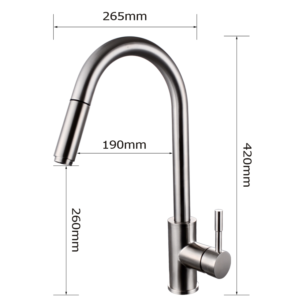 stainless steel kitchen faucet with pull down spray sink plumbing kes out single handle sus 304 contemporary style hole bar water mixer tap sprayer