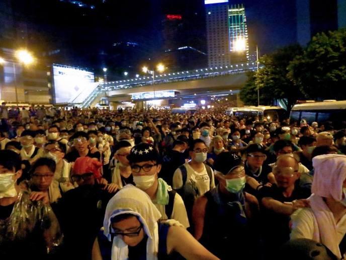 Crowds gather in Admiralty, Hong Kong (Photo by Dan Garrett)