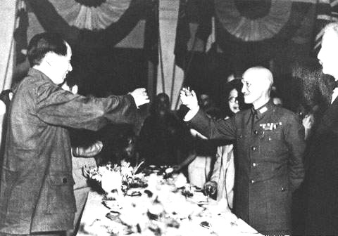 Chiang and Mao toast each other, uncertain of the future