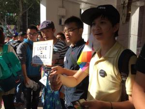 Volunteers at the pro-marriage equality rally in Taipei.