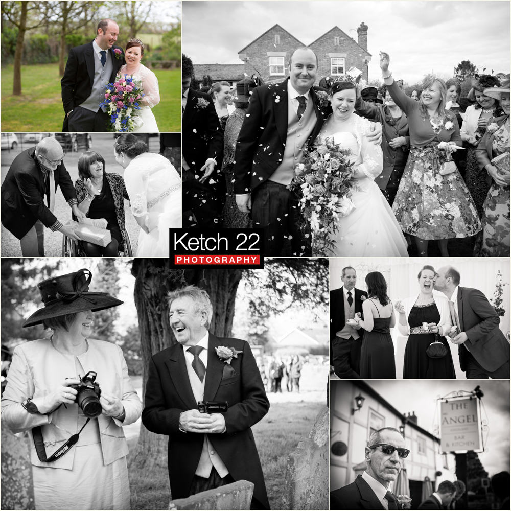 Bride and groom with confetti at Leominster wedding Herefordshire