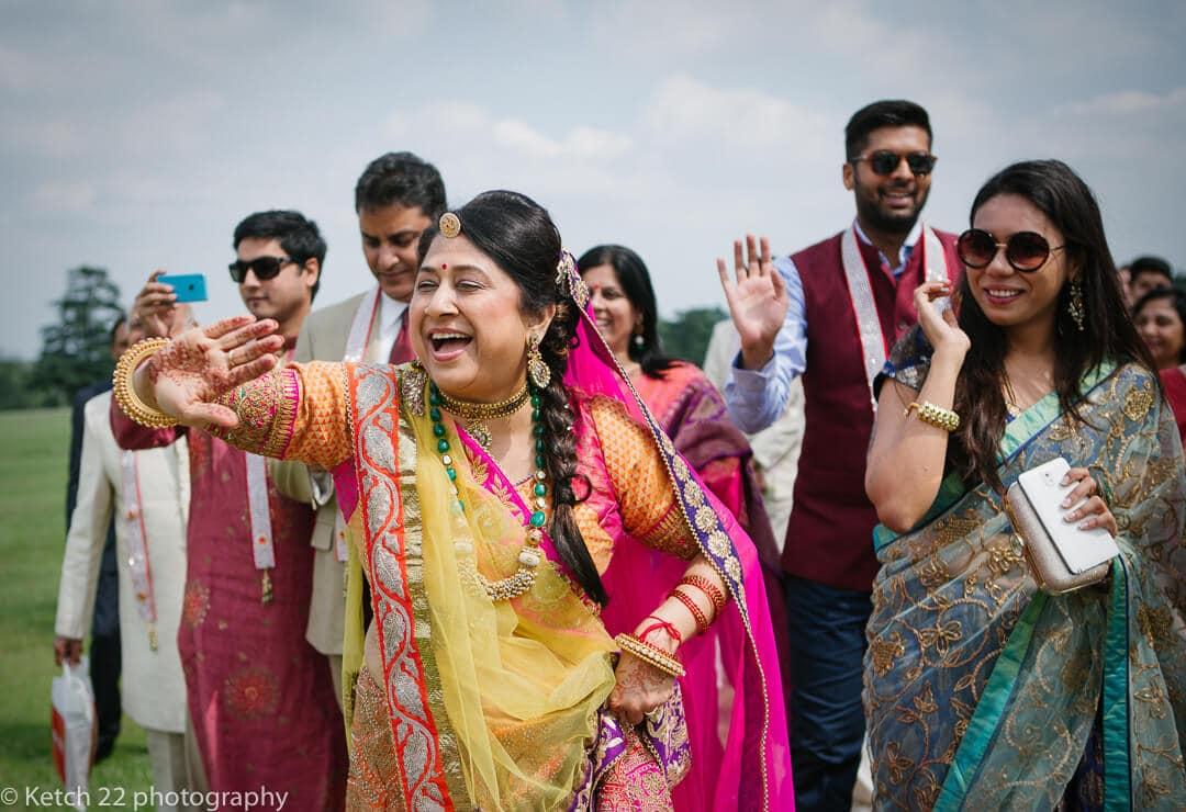 Wedding guests dancing at indian wedding