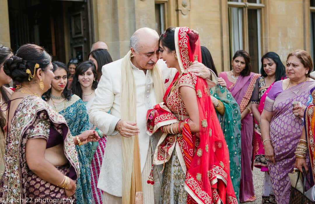 Father says goodbye to his daughter at indian wedding ceremony