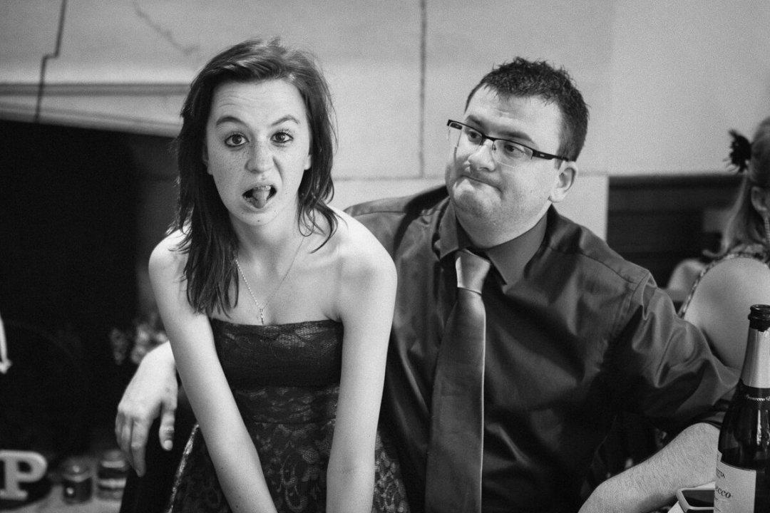 Teenager making face at Wedding