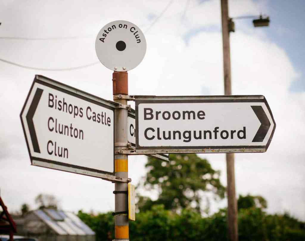 Road signs at wedding in Shropshire