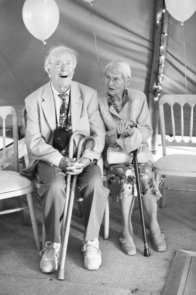 Grandma and Grandad smiling at wedding in Shropshire