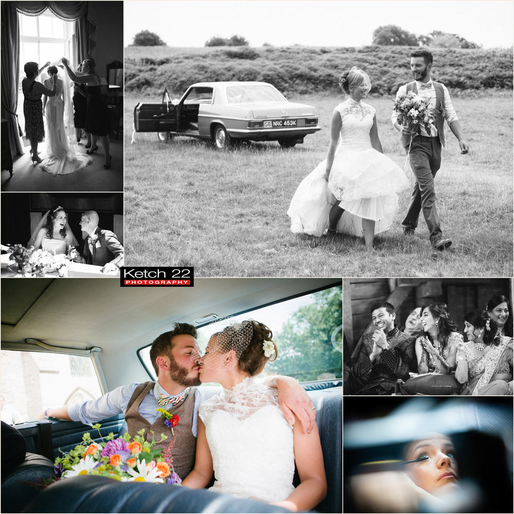 Bride and groom walking away from vintage wedding car
