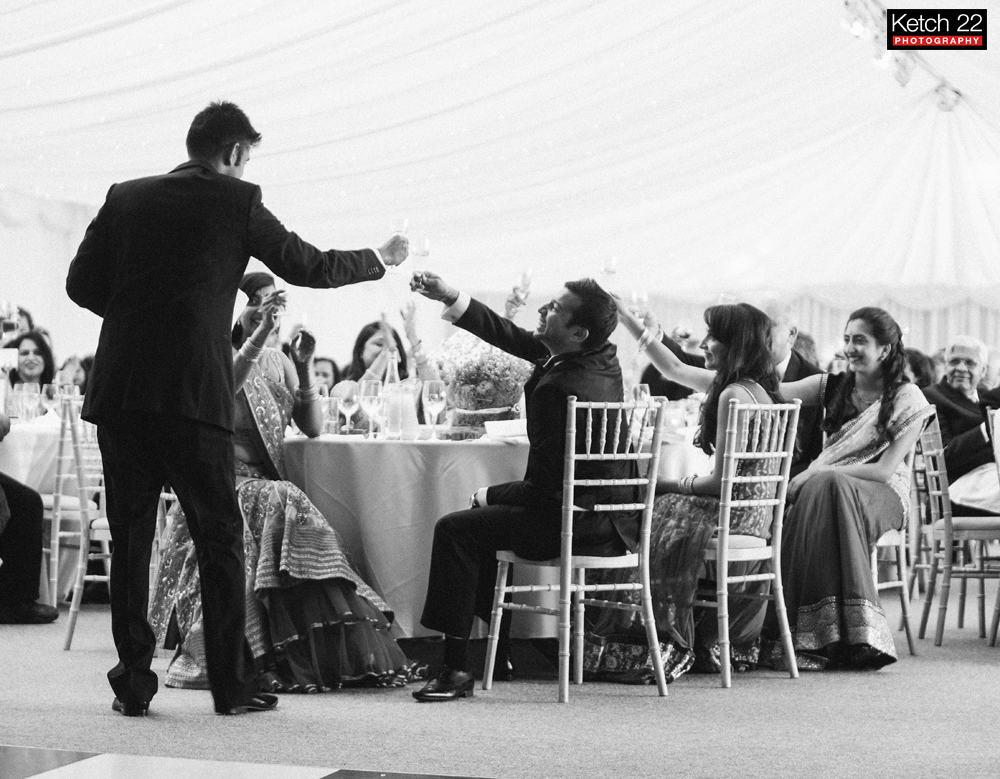 wedding part toast at Indian wedding reception