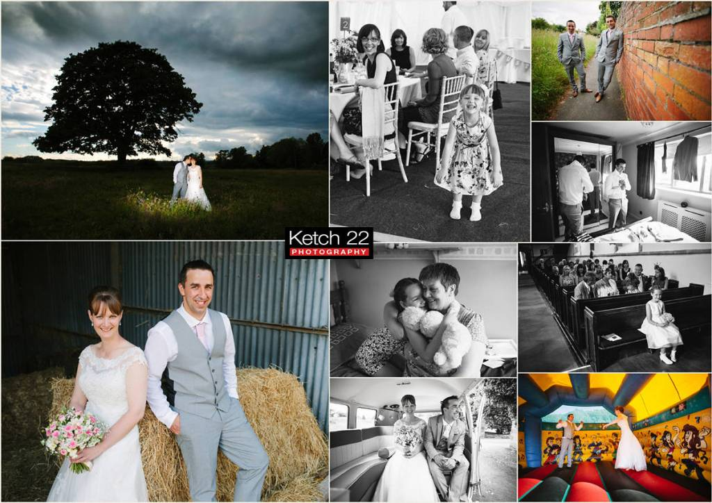 Bride and groom in haybarn at wedding in Ross on Wye Herefordshire