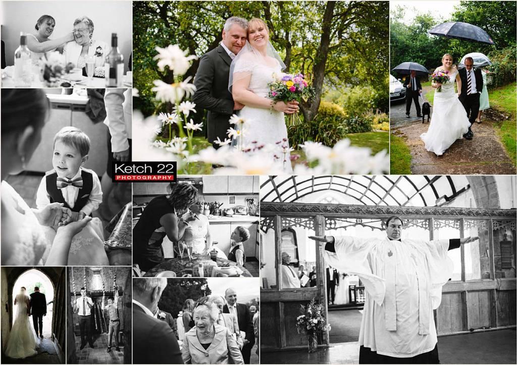 Bride and groom standing amongst flowers at Swan Hotel wedding
