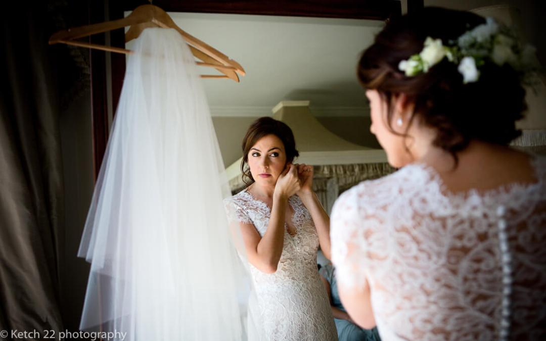 Bride getting ready at North Cadbury Court Wedding