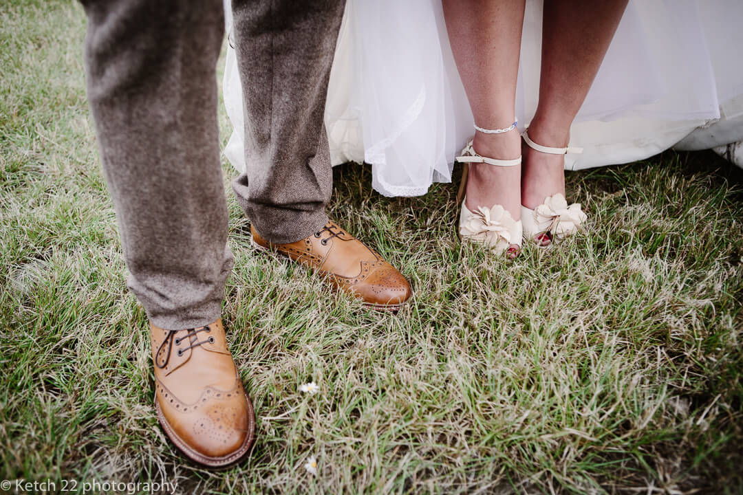 Vintage shoes at Yurt wedding