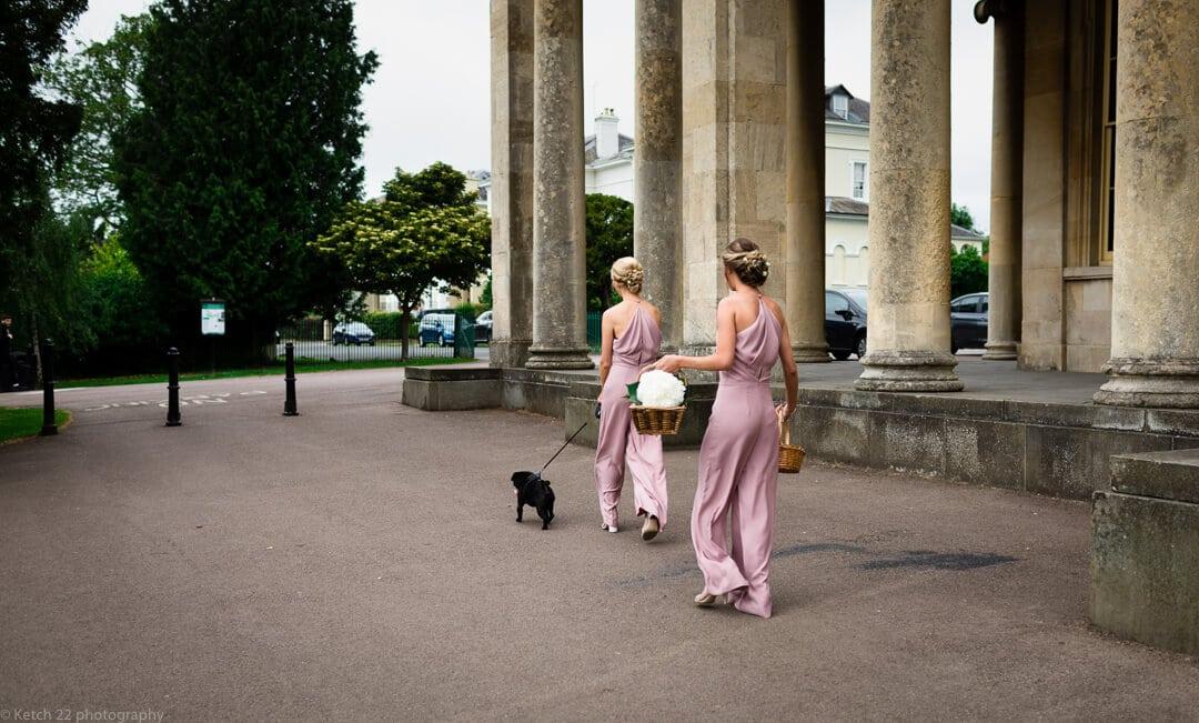 Bridesmaids in pink with black dog at Cheltenham wedding