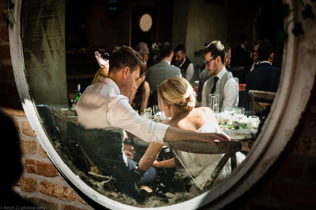 Mirror view of bride and groom at No 38