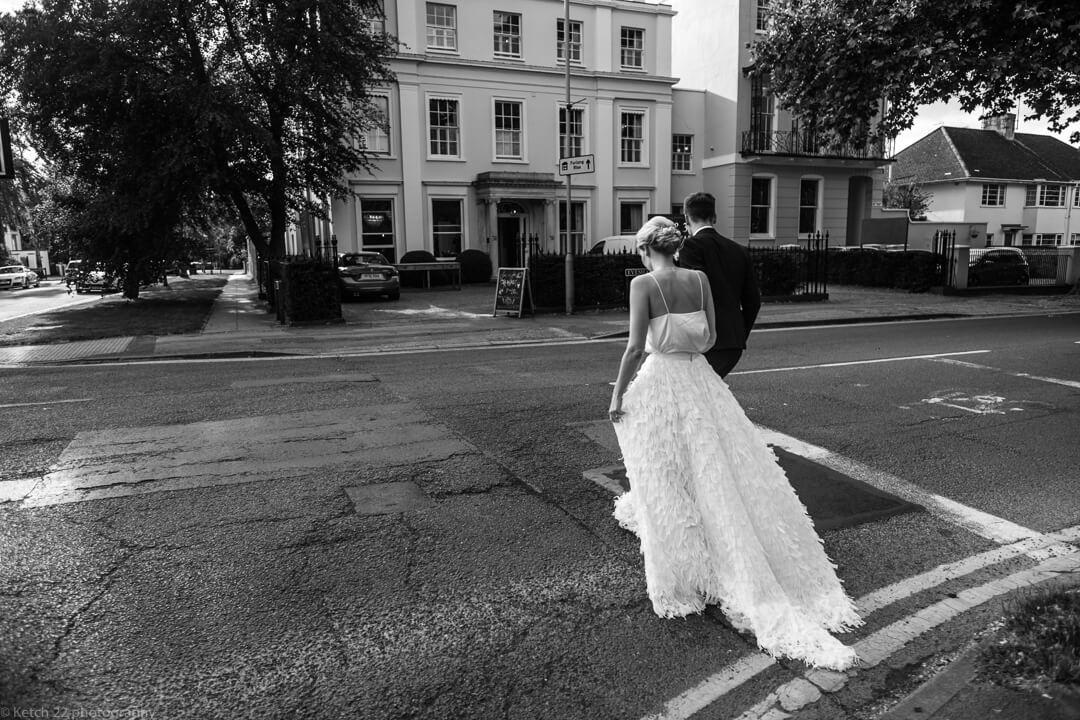 View of back of brides dress at no 38