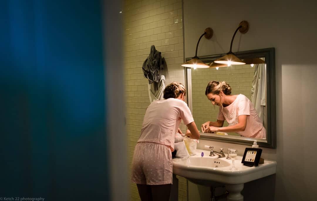 Bridesmaid in mirror