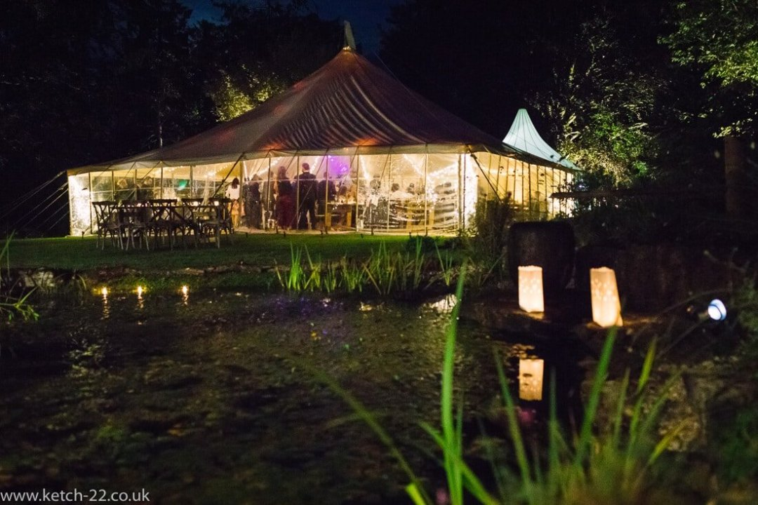 Night photo of Wedding marquee