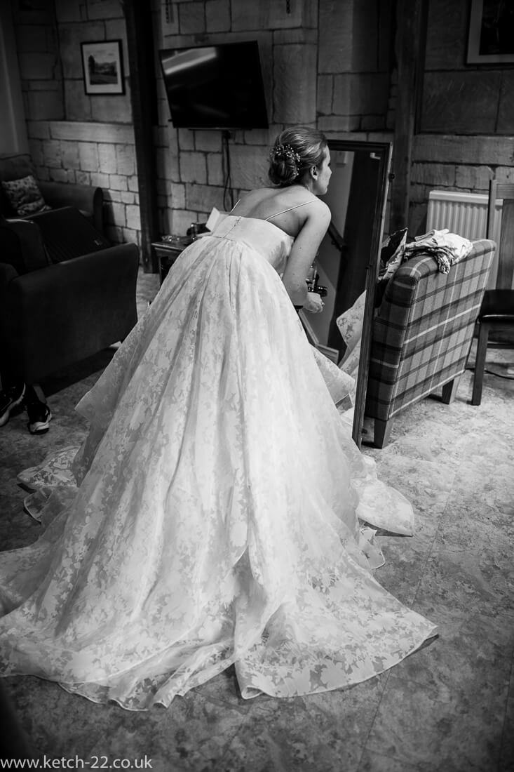 Back view of bride wearing wedding dress