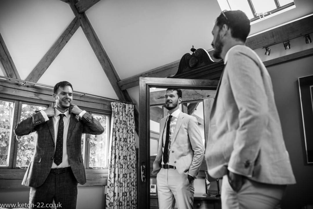 Groom and ushers getting ready - Winchcombe wedding photographer