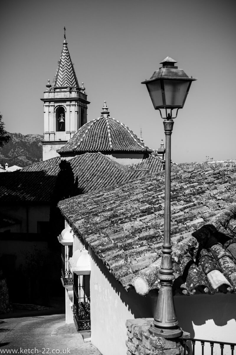 Black and white view of Church in Zahara, Spain