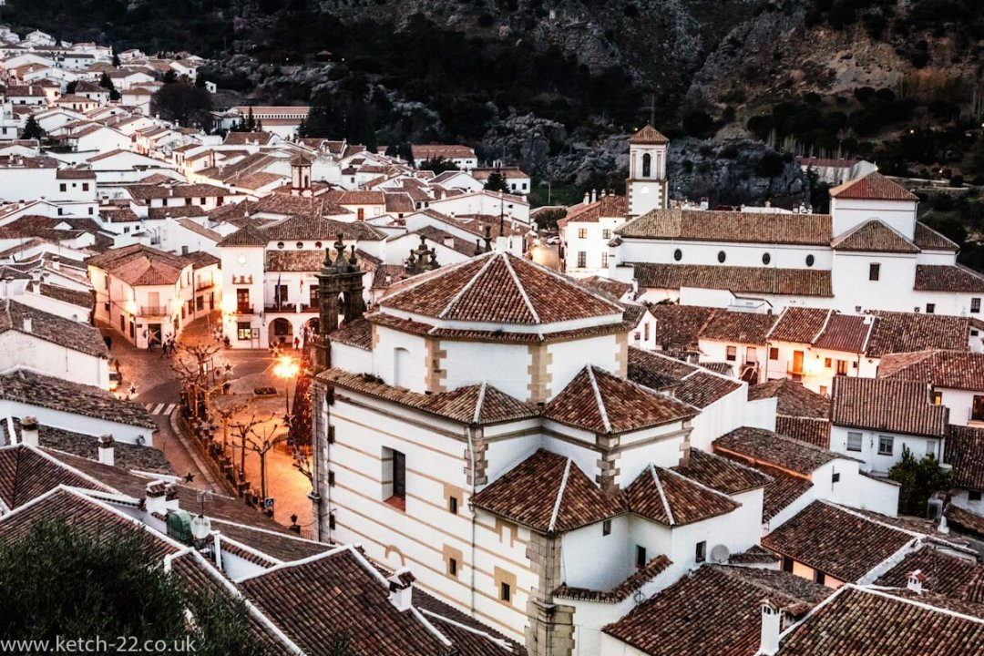 Images of Grazalema natural park with view of Town in the evening