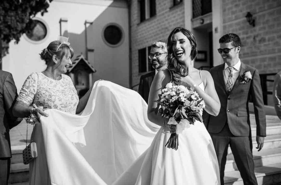 Documentary wedding photo of bride