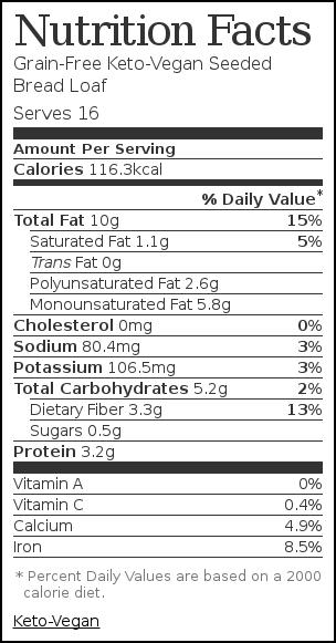Nutrition label for Grain-Free Keto-Vegan Seeded Bread Loaf