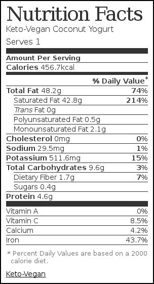 Nutrition label for Keto-Vegan Coconut Yogurt