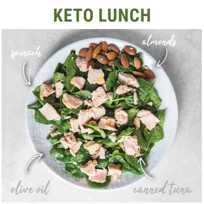 For lunch, we love a nice salad with olive oil, canned tuna, and almonds.