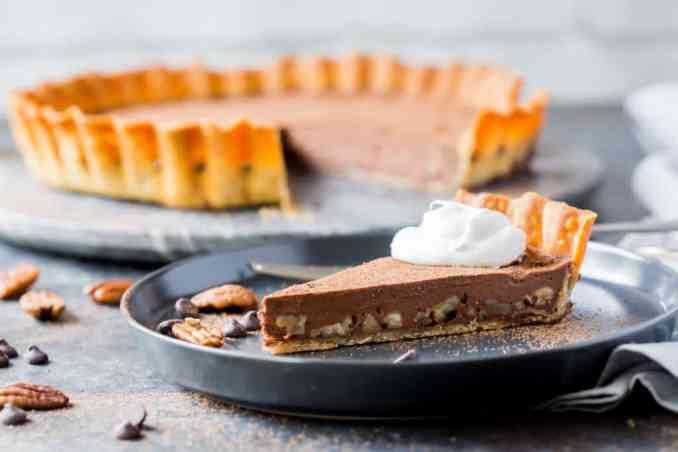 slice of keto chocolate tart
