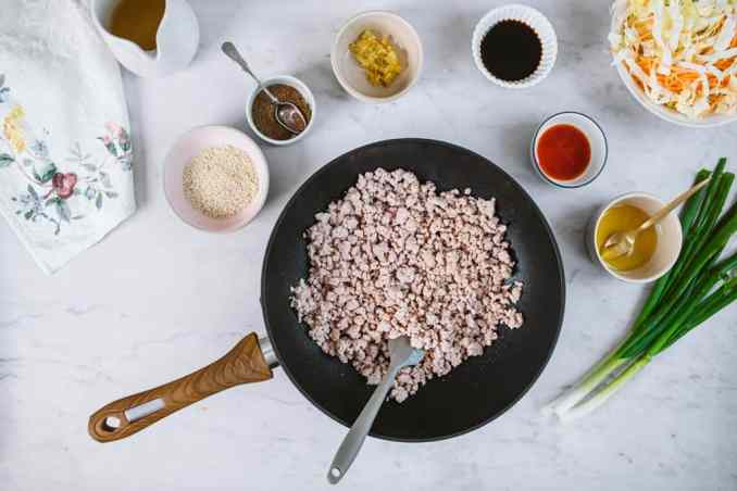 A pan with freshly cooked pork surrounded by spring onions, sesame oil, and spices